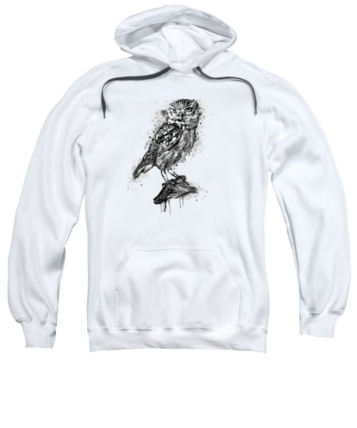 Black And White Owl Sweatshirt by Marian Voicu