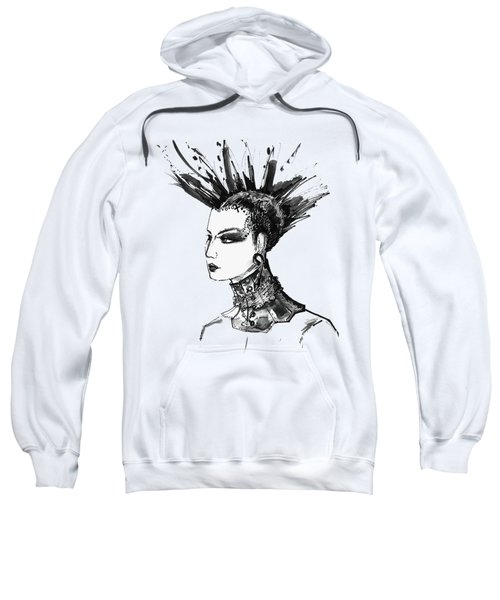 Black And White Punk Rock Girl Sweatshirt