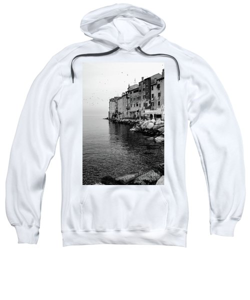 Black And White - Rovinj Venetian Buildings And Adriatic Sea, Istria, Croatia Sweatshirt
