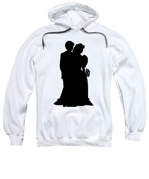 Black And White Silhouette Of A Bride And Groom Sweatshirt