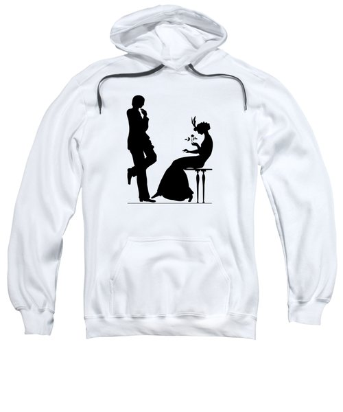 Black And White Silhouette Of A Man Giving A Woman A Flower Sweatshirt