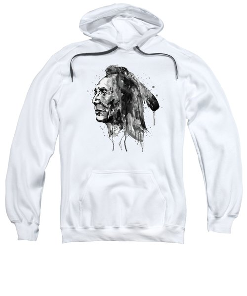 Black And White Sioux Warrior Watercolor Sweatshirt
