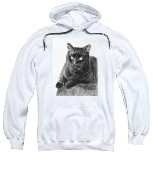 Black Cat Detailed Drawing Sweatshirt