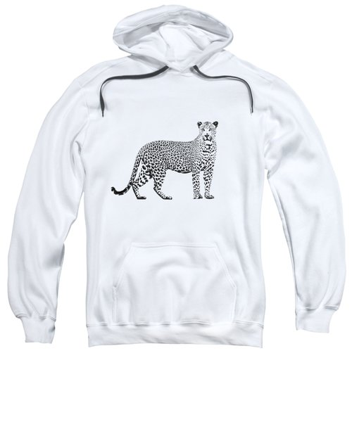 Black Leopard On White Canvas Sweatshirt