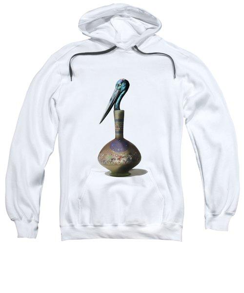 Black Necked Stork Stuffed Inside The Gilded Bottle Sweatshirt by Keshava Shukla