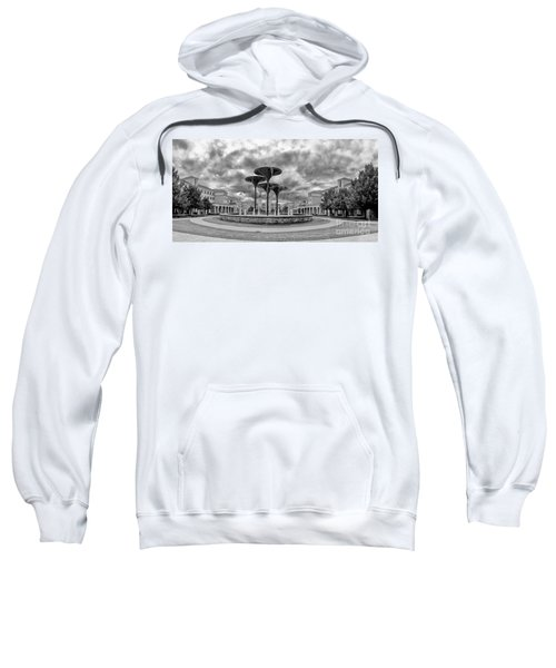 Black White Panorama Of Texas Christian University Campus Commons And Frog Fountain - Fort Worth  Sweatshirt