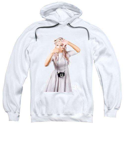 Blond Woman Framing Picture Sweatshirt