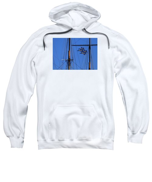 Blue Angels Pass Behind Masts Of The Balclutha At Hyde Street Pier Sweatshirt