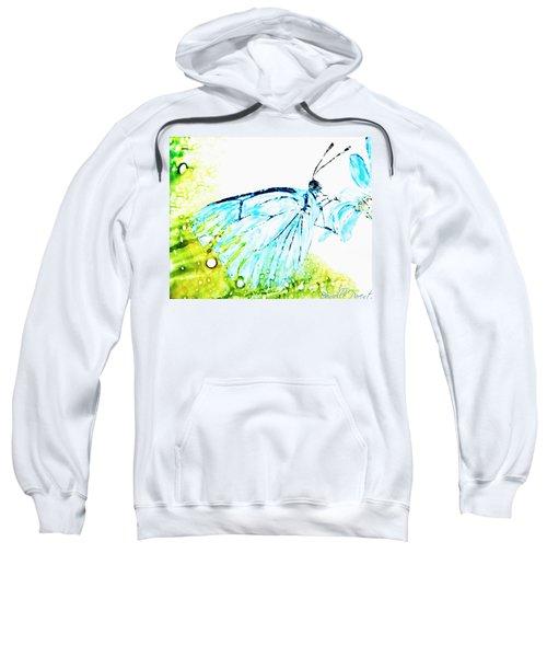 Blue Butterfly On Daisy Alcohol Inks Sweatshirt