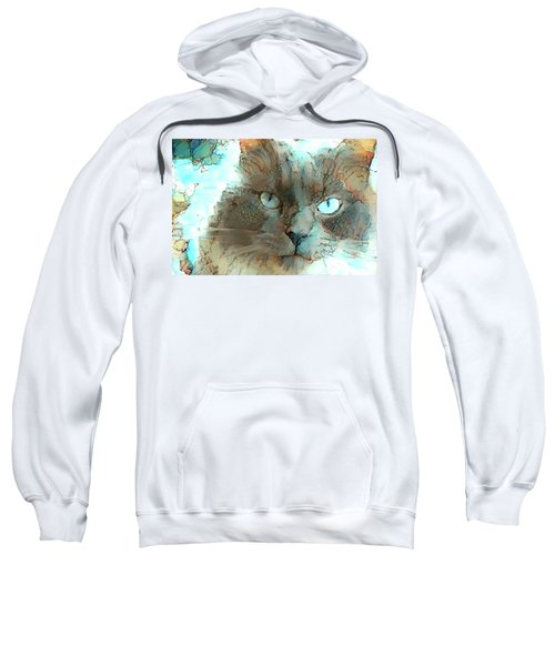 Blue Eyed Persian Cat Watercolor Sweatshirt