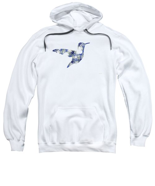 Blue Floral Hummingbird Art Sweatshirt