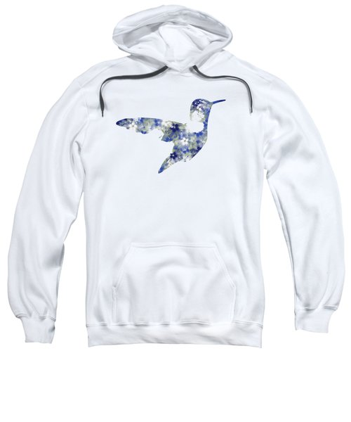 Sweatshirt featuring the mixed media Blue Floral Hummingbird Art by Christina Rollo