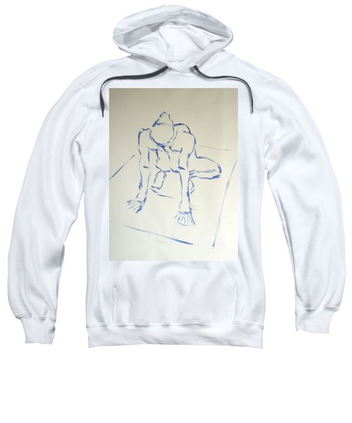Blue Line Painting Of A Male Nude Kneeling On His Heels And Resting On Hands Which Are Behind Him Sweatshirt