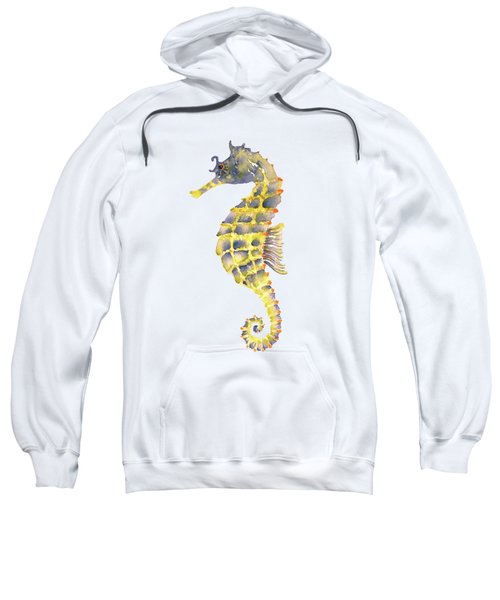 Blue Yellow Seahorse - Vertical Sweatshirt by Amy Kirkpatrick
