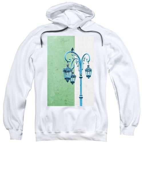 Blue,green And White Sweatshirt