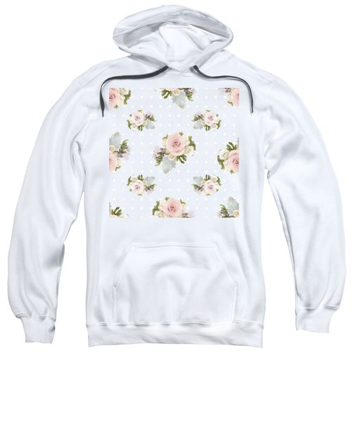 Blush Pink Floral Rose Cluster W Dot Bedding Home Decor Art Sweatshirt