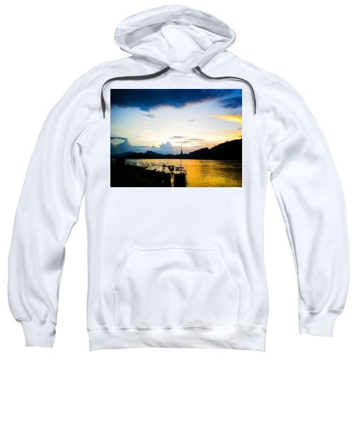 Boats In The Mekong River, Luang Prabang At Sunset Sweatshirt