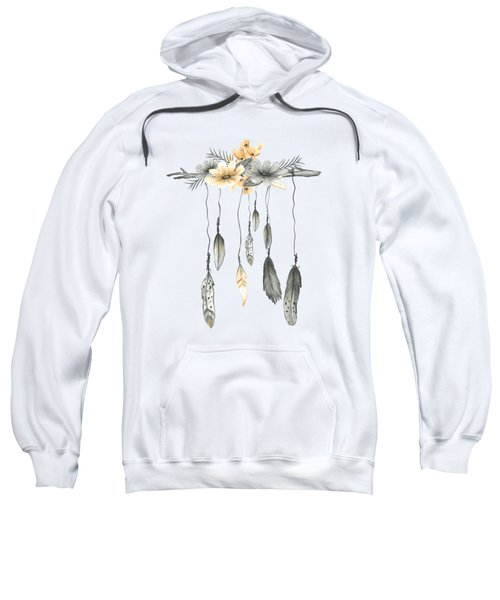 Boho Feathers Floral Branch Sweatshirt