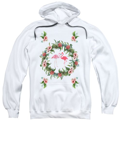Boho Floral Tropical Wreath Flamingo Sweatshirt