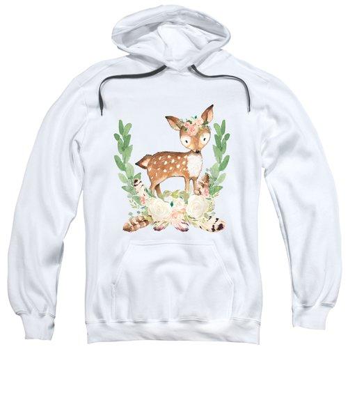 Boho Woodland Blush Dear With Feathers Sweatshirt
