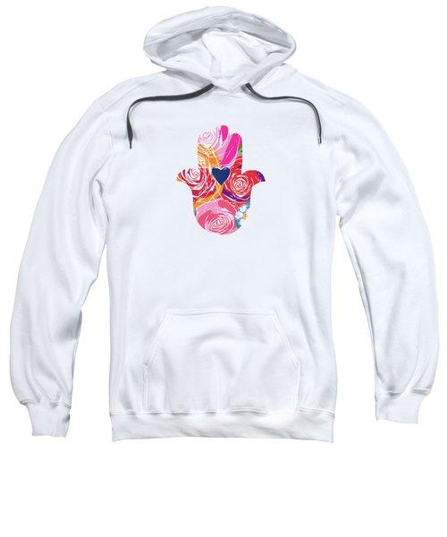 Bold Floral Hamsa- Art By Linda Woods Sweatshirt by Linda Woods