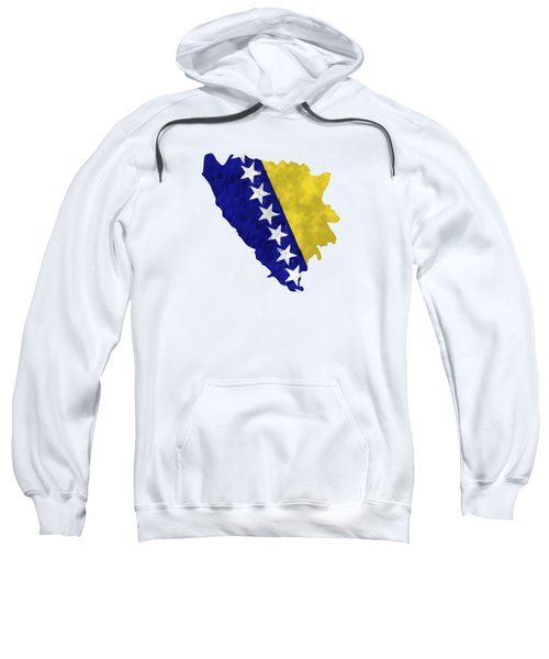 Bosnia And Herzegovina Map Art With Flag Design Sweatshirt