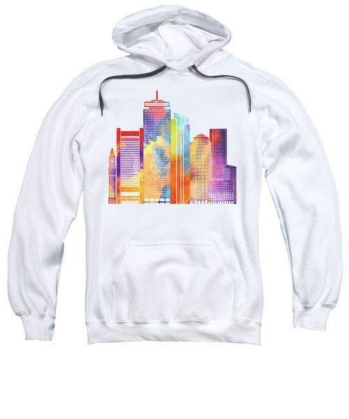 Boston Landmarks Watercolor Poster Sweatshirt by Pablo Romero