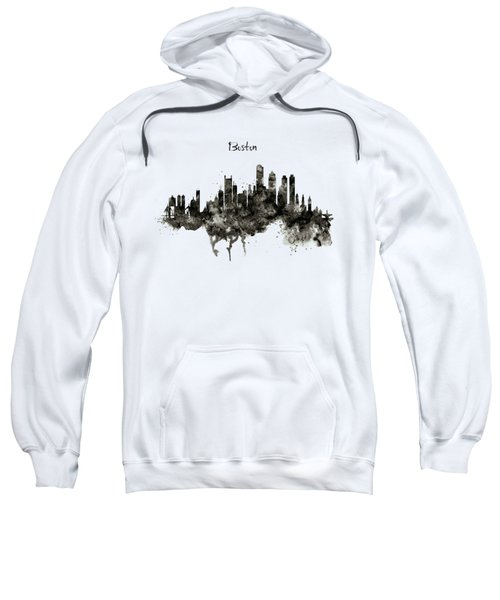 Boston Skyline Black And White Sweatshirt by Marian Voicu