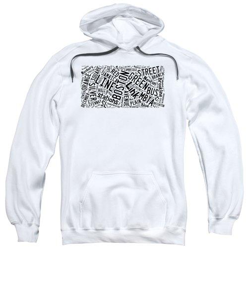 Boston Subway Or T Stops Word Cloud Sweatshirt by Edward Fielding