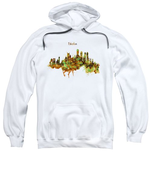 Boston Watercolor Skyline Sweatshirt by Marian Voicu