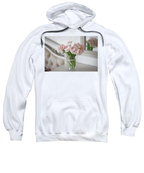 Bouquet Of Delicate Ranunculus And Tulips In Interior Sweatshirt