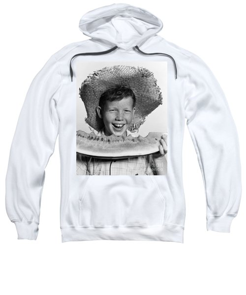 Boy Eating Watermelon, C.1940-50s Sweatshirt by H. Armstrong Roberts/ClassicStock