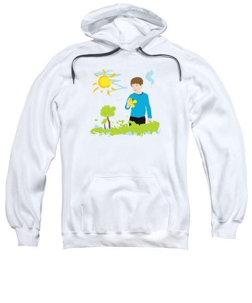 Boy Painting Summer Scene Sweatshirt by Serena King