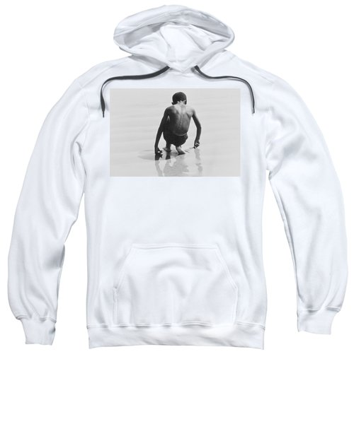 Boy Playing In The Sand At Coney Island Sweatshirt