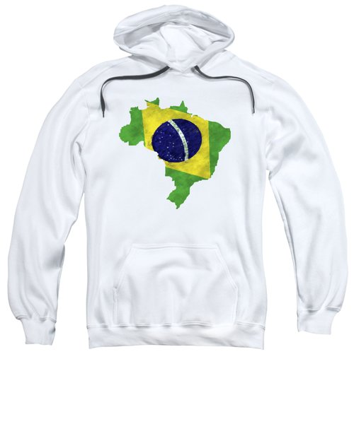 Brazil Map Art With Flag Design Sweatshirt by World Art Prints And Designs