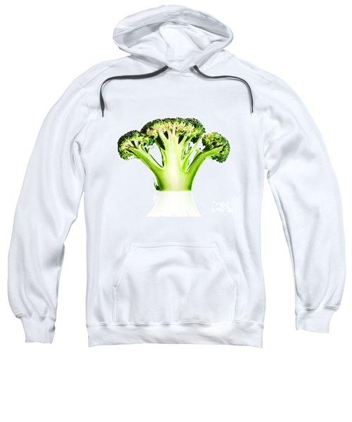 Broccoli Cutaway On White Sweatshirt by Johan Swanepoel