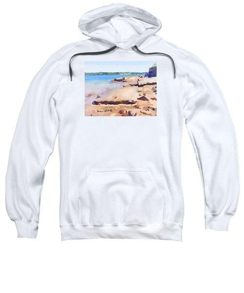 Broken Walkway Rock At Ten Pound Island Beach Sweatshirt by Melissa Abbott