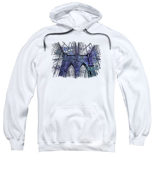 Brooklyn Bridge Berry Blues 3 Dimensional Sweatshirt by Di Designs