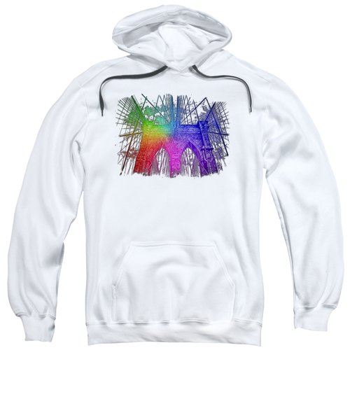 Brooklyn Bridge Cool Rainbow 3 Dimensional Sweatshirt by Di Designs