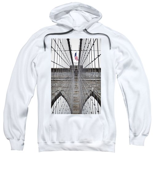 Sweatshirt featuring the photograph Brooklyn Bridge Flag by Peter Simmons