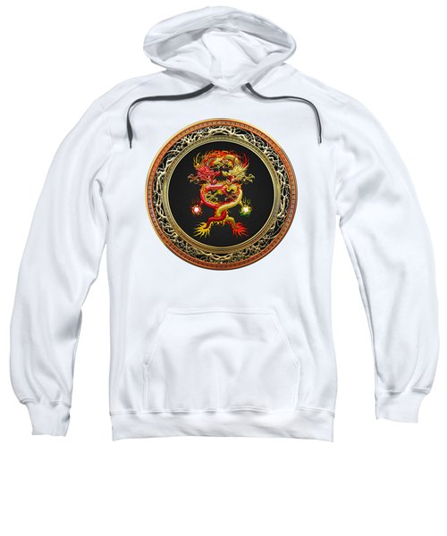 Brotherhood Of The Snake - The Red And The Yellow Dragons On White Leather Sweatshirt by Serge Averbukh
