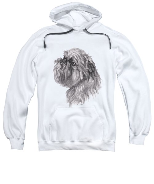Brussels Griffon Dog Portrait  Drawing Sweatshirt by I Am Lalanny