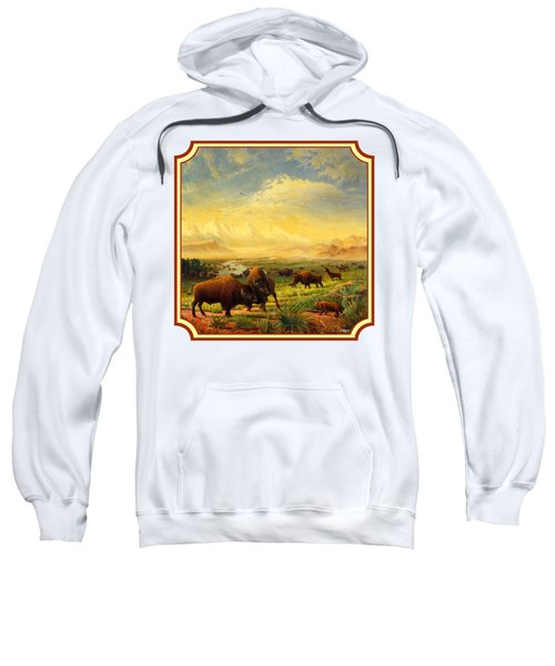 Buffalo Fox Great Plains Western Landscape Oil Painting - Bison - Americana - Square Format Sweatshirt