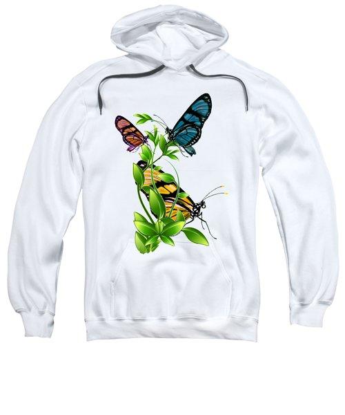 Butterflies On Leaves Sweatshirt