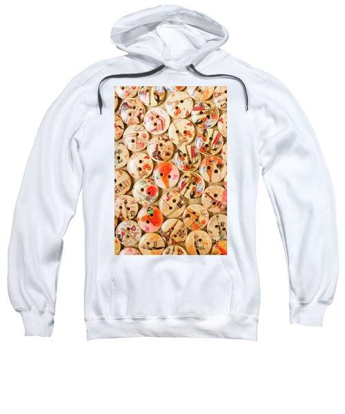 Buttoning A Background Sweatshirt