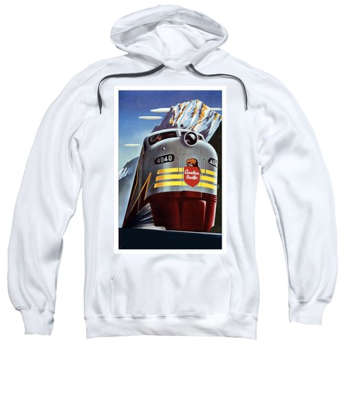 Canadian Pacific - Railroad Engine, Mountains - Retro Travel Poster - Vintage Poster Sweatshirt