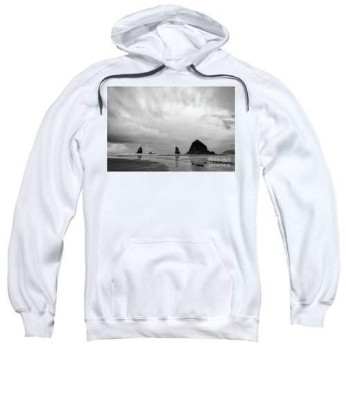 Cannon Beach In Black And White Sweatshirt