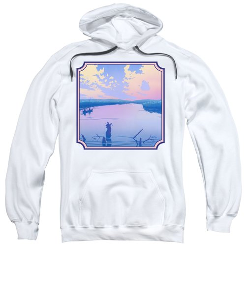 Canoeing The River Back To Camp At Sunset Landscape Abstract - Square Format Sweatshirt