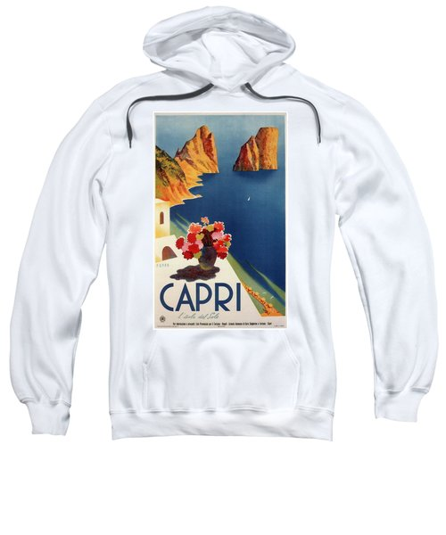 Capri Island, Bay Of Naples, Italy - Retro Travel Poster - Vintage Poster Sweatshirt