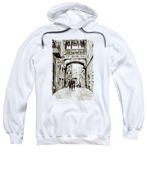 Carrer Del Bisbe - Barcelona Black And White Sweatshirt